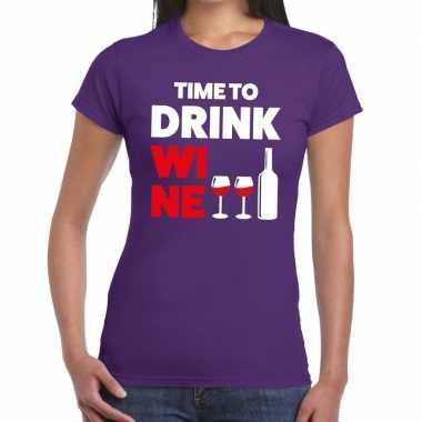 Time to drink wine fun t-shirt paars voor dames