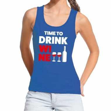 Time to drink wine fun tanktop / mouwloos shirt blauw voor dames