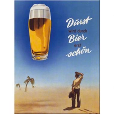 Tinnen plaat muurdecoratie durst wird durch bier erst sch?n 20 x