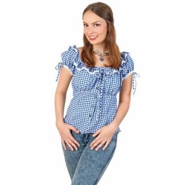 Tiroler blouse blauw/wit voor dames