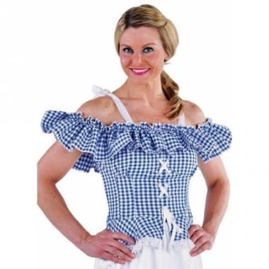 Tiroler blouse met koordje carmen wit met blauw