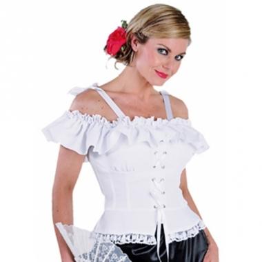 Tiroler blouse met koordje carmen wit