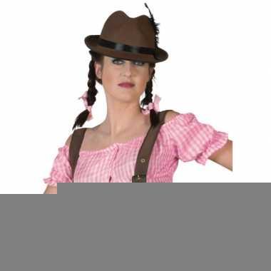 Tiroler blouse roze zonder schouders