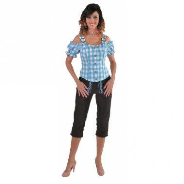 Tiroler geruite blouse off shoulders blauw