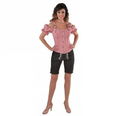 Tiroler geruite blouse off shoulders rood