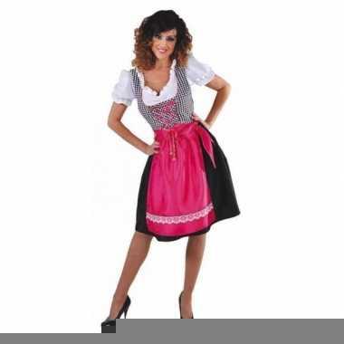 Tiroler jurk zwart met roze schort