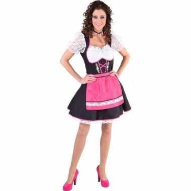 Tiroler verkleed jurk zwart/wit met fuchsia roze schort voor dames