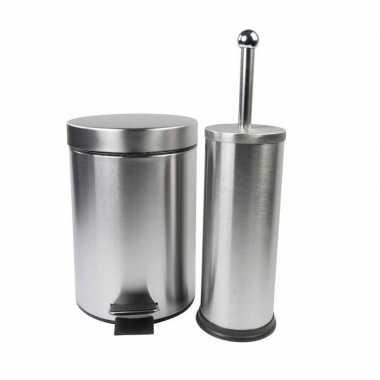 Toiletsetje prullenbak en toiletborstel set rvs
