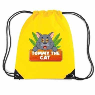 Tommy the cat katten trekkoord rugzak / gymtas geel voor kinderen
