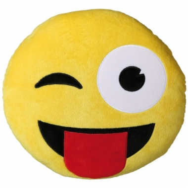 Tong en knipoog emoticon kussentje 30 cm