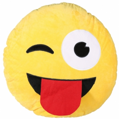 Tong en knipoog emoticon kussentje 50 cm