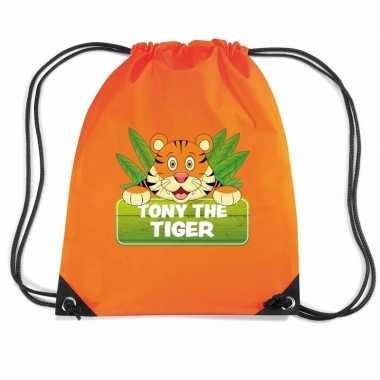 Tony the tiger tijger trekkoord rugzak / gymtas oranje voor kinderen
