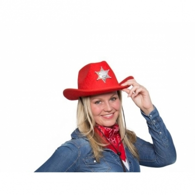 Toppers cowboyhoed rood met verlichting