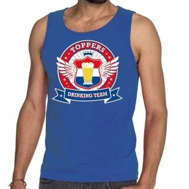 Toppers drinking team tankop / mouwloos shirt blauw heren