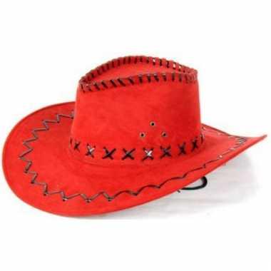 Toppers rode lederlook cowboyhoeden