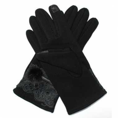 Touchscreen handschoenen zwart met bont voor dames