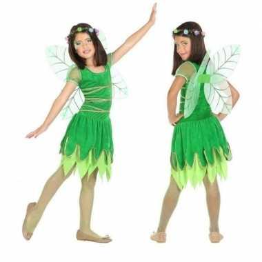 Toverfee/elf kostuum groen met vleugels voor meisjes