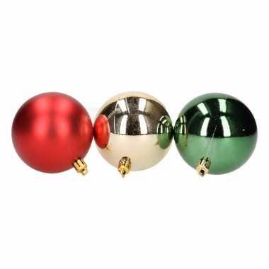 Traditional christmas 9-delige kerstballen set rood/groen