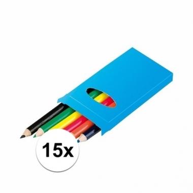 Traktatie speelgoed doosjes potloden 15 stuks