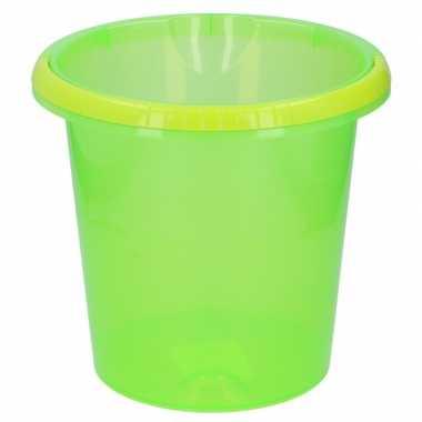 Transparant groene huishoud emmer 10 liter