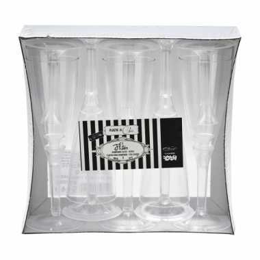 Transparante champagne glazen 10 stuks