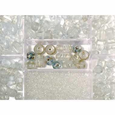 Transparante glazen kralen in box 115 gram