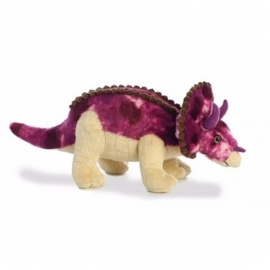 Triceratops paarse dino knuffel 33 cm