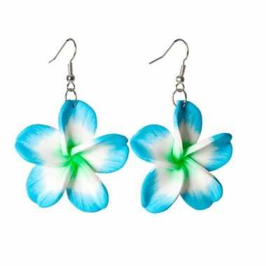 Tropische bloem oorbellen blauw