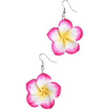 Tropische bloem oorbellen roze