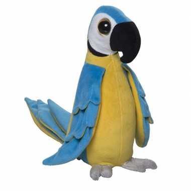 Tropische papegaai knuffel blauw pluche 25 cm
