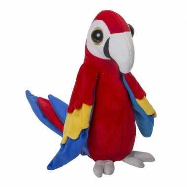 Tropische papegaai knuffel rood pluche 25 cm