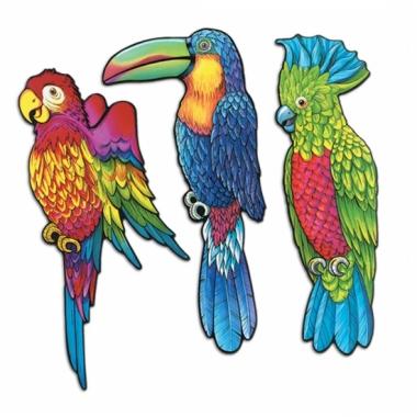 Tropische vogel decoratie 3 stuks