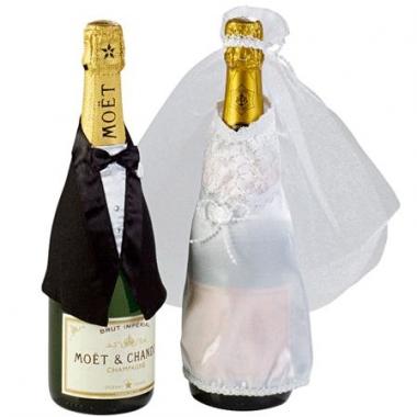 Trouw decoratie champagne fles