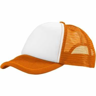 Truckerscap/snapback cap oranje/wit
