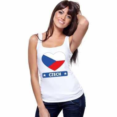 Tsjechie hart vlag mouwloos shirt wit dames