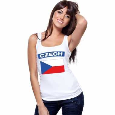 Tsjechie vlag mouwloos shirt wit dames