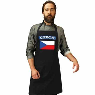 Tsjechische vlag keukenschort/ barbecueschort zwart heren en dames