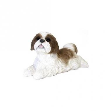 Tuin bruine boomer beeldje hondje 19 cm