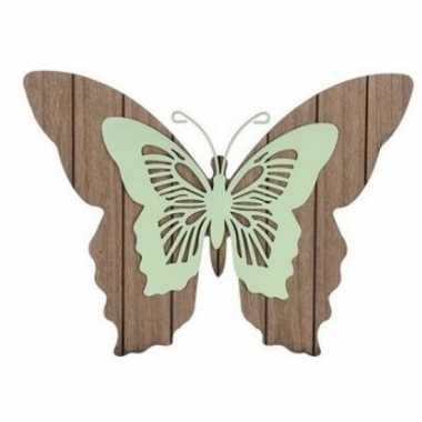 Tuin vlinder bruin/mintgroen 28 cm