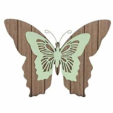 Tuin vlinder bruin/mintgroen 38 cm