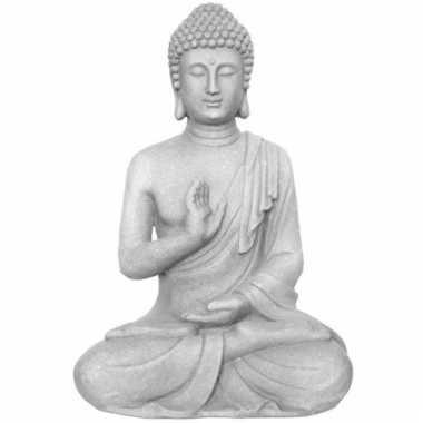 Tuinbeeld boeddha geruststelling 40 cm