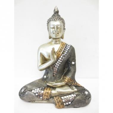 Tuinbeeld boeddha zilver 17 cm