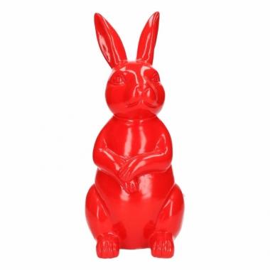 Tuinbeeld konijn / haas rood 30 cm