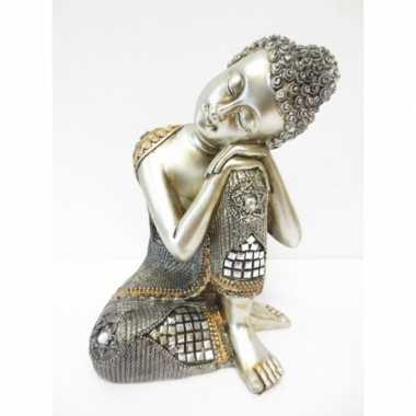 Tuinbeeld slapende boeddha 28 cm