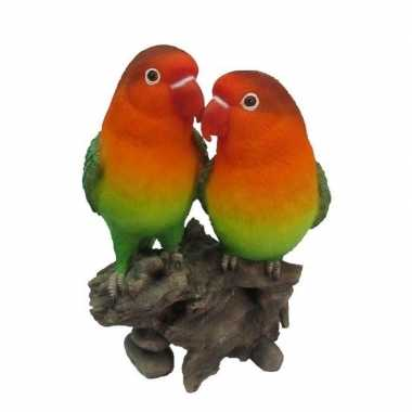 Tuinbeeldje agapornis vogel koppel 24 cm