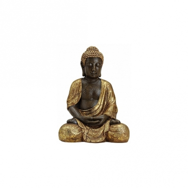Tuindecoratie boeddha beeld bruin/goud 42 cm