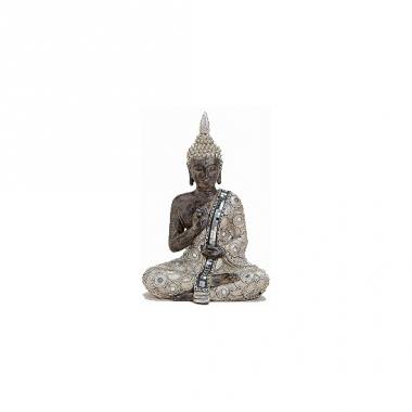 Tuindecoratie boeddha beeld zilver/bruin 27 cm