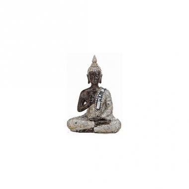 Tuindecoratie boeddha beeldje zilver/bruin 21 cm