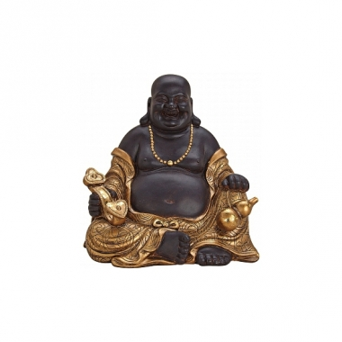 Tuindecoratie happy boeddha beeld bruin/goud 29 cm