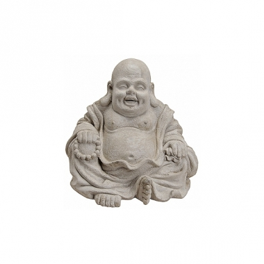 Tuindecoratie happy boeddha beeld grijs 32 cm